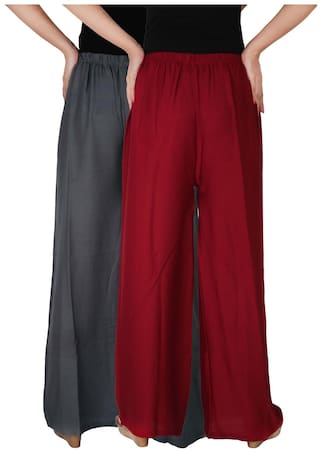 of Trousers Palazzo Free Pants Pack Rayon C RPZ Size Maroon Grey 2 Dignity Combo Women's G1M of Solid Culture the Palazzo 2 4BAxUU