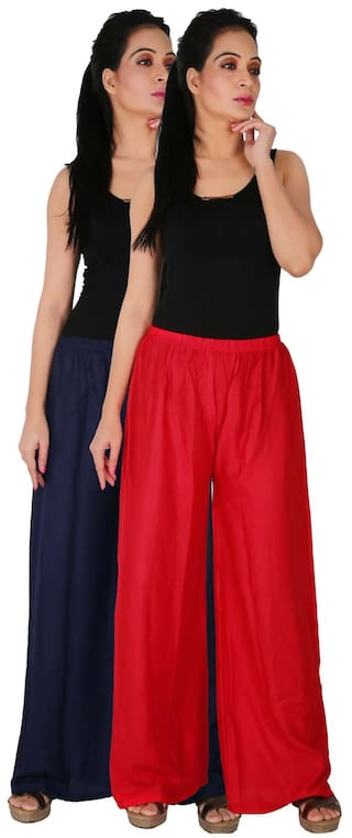 Red Culture 2 Size Trousers Blue Palazzo RPZ Free Combo of Dignity C Women's Pants Rayon Solid Pack the 2 of Palazzo B3R Navy RB68xR