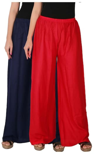 Palazzo Combo Red B3R Rayon of C Pants Women's Pack 2 RPZ of Free Culture 2 the Dignity Palazzo Navy Size Blue Trousers Solid F6WzXq