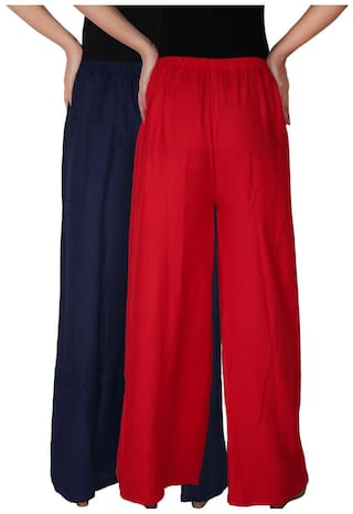 Dignity of Pack Free Combo Red Women's RPZ Pants Palazzo B3R Trousers Rayon Navy C the Size Blue Palazzo of Culture 2 Solid 2 xwH5q1