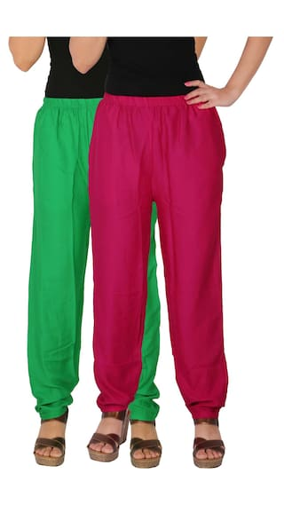 Culture of Dignity 2 With GM1 Side of Pockets Combo Rayon Pack Women's the Magenta C Green Pants 2 Free Casual Solid Size RPT rfPqrwx