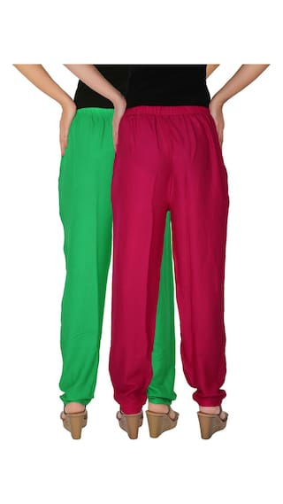With Dignity GM1 Size Women's Culture Casual of Pockets C the 2 Pants Free 2 Magenta Side Solid Green RPT of Rayon Combo Pack 5EqqT0wrBx
