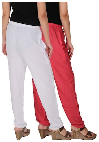 Casual Side Free Pockets of Rayon of 2 Size RPT Pink C the PW White Solid Dignity 2 Pack Combo With Women's Pants Culture xXwpqFn448