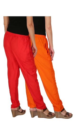Pants Pockets RPT Pack Size Solid Dignity of 2 Culture 2 With the Red Free of OR Women's Side Rayon Combo Casual Orange C qwSaYzS