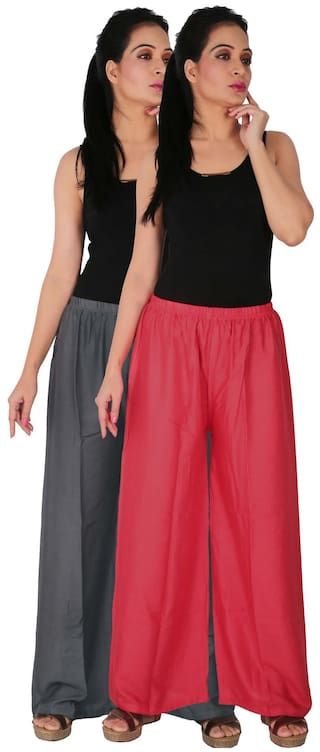 Solid RPZ Culture Pants Women's Dignity Palazzo Free 2 Combo 2 G1P Pink Grey Palazzo C Pack of the Trousers Rayon Size of rrFZxIq