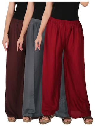 B2G1M Maroon of Dignity Grey RPZ 3 Size Brown of Solid Culture the Combo C Free Rayon Palazzo Women's 3 Pack aPq6q5xg