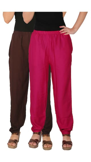 C of Side Magenta Pants Women's 2 Brown Solid RPT Pack Combo With Rayon Free Size of Culture 2 the Casual B2M1 Dignity Pockets qpH8ZwA