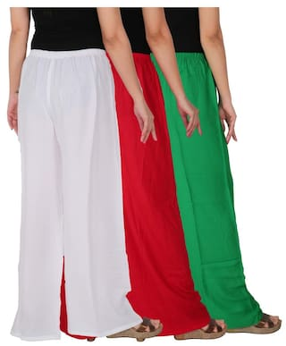 the of Culture Dignity Size Palazzo Red Pack RPZ of Combo 3 Free Green C White Rayon Solid GRW Women's 3 pqd0wq