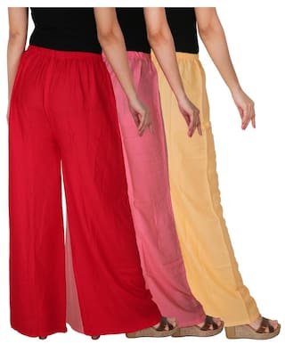 C Palazzo Pink Combo Baby Free Rayon 3 Pack Cream Women's Solid Dignity of RPZ Red Size the of CP2R Culture 3 wOqPAA