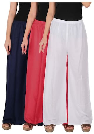 Culture the Dignity Women's Rayon Solid Palazzo Combo of 3 - Navy Blue - Pink - White - C_RPZ_B3PW - Pack of 3 - Free Size