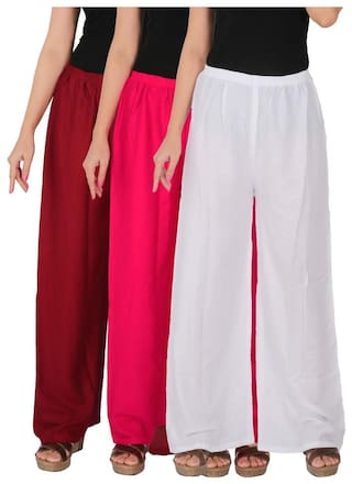 C 3 Free Rayon Maroon RPZ Dignity of the Combo Size MM1W Magenta Pack Culture Solid of White Palazzo 3 Women's z7wTnAUx