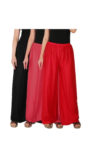 Culture the Dignity Women's Rayon Solid Palazzo Combo of 3 - Black - Pink - Red - C_RPZ_BPR - Pack of 3 - Free Size