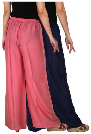 Culture Combo Navy B3P2 C 2 Rayon Free Palazzo Blue Palazzo Size Pink Women's Baby RPZ Pants the of Pack Trousers 2 of Solid Dignity zqxr7zUf