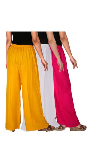 Pack Magenta Free Rayon C Combo Culture of Yellow M1WY Size of 3 Dignity White RPZ Solid 3 Women's Palazzo the UxzxRqZ