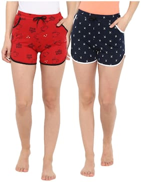 Curare Women Printed Regular shorts - Red & Blue