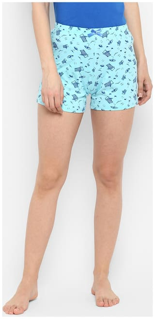 Curare Women Printed Sport shorts - Turquoise
