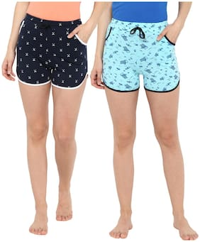 Curare Women Printed Regular shorts - Blue