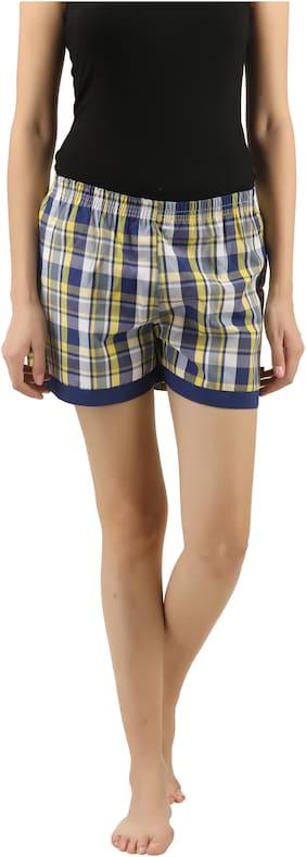 Curare Women Cotton Checked Shorts - Multi