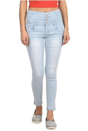 CURLX FASHION Women Slim fit High rise Solid Jeans - Blue