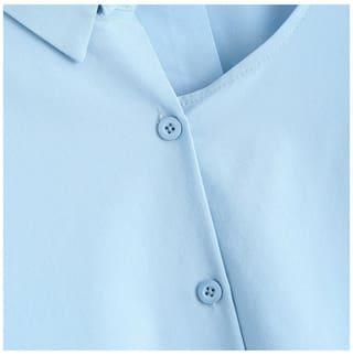 Cut Out Button Up Plus Size Asymmetric Blouse #LL Store