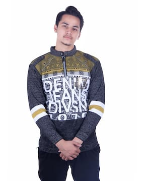 Oh Yes Printed Round Neck Casual Men's Yellow,Black Sweater