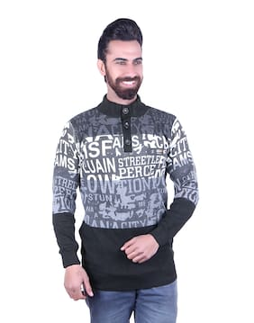 Oh Yes Striped V-neck Casual Men's Multicolor Sweater