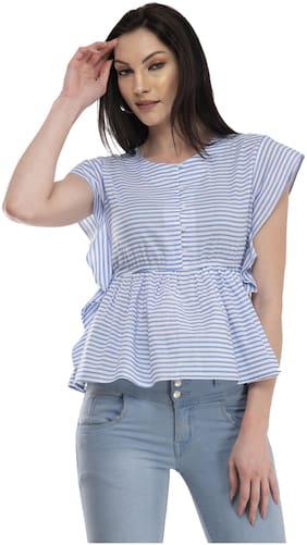 Cwtch Women Viscose Rayon Striped Blue Empire