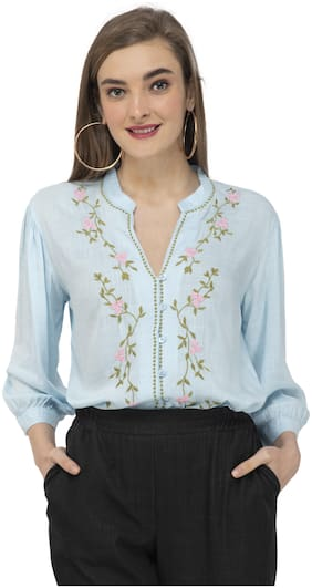 Cwtch Women Blue Embroidered Regular Fit Shirt