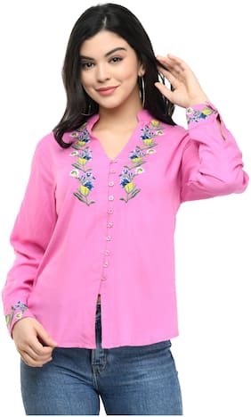 Cwtch Women Pink Embroidered Regular Fit Shirt
