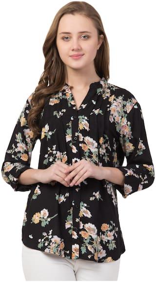Cwtch Women Black Floral Regular Fit Shirt