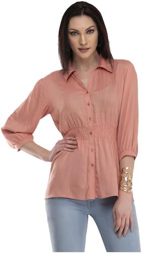 Cwtch Women Peach Solid Regular Fit Shirt