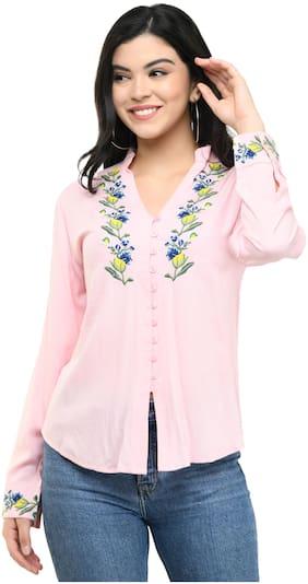 Cwtch Women Pink Embroidered Regular Fit Shirt
