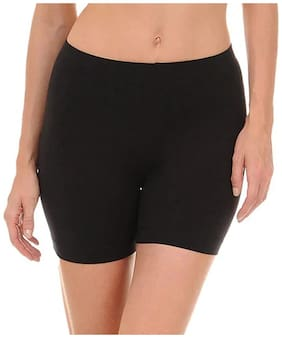Stars and You Women Solid Sport shorts - Black