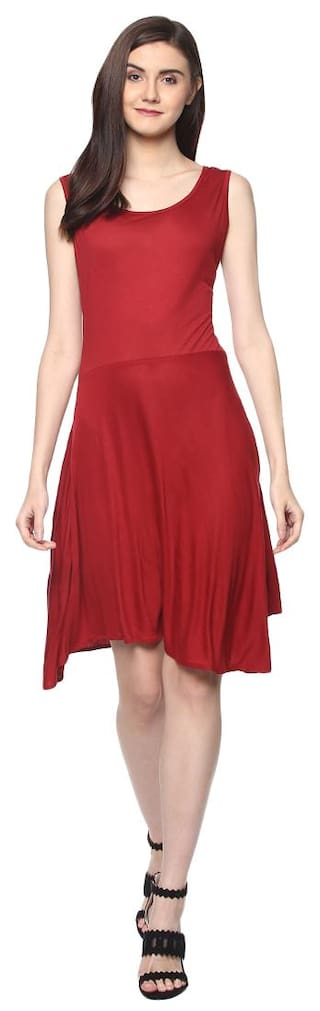 D'amor Women's Fit and Flare Maroon Dress