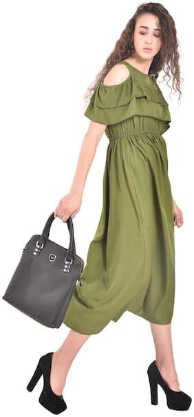 D-Jay Cold Shoulder Olive Green Front Frill Long Maxi Dress