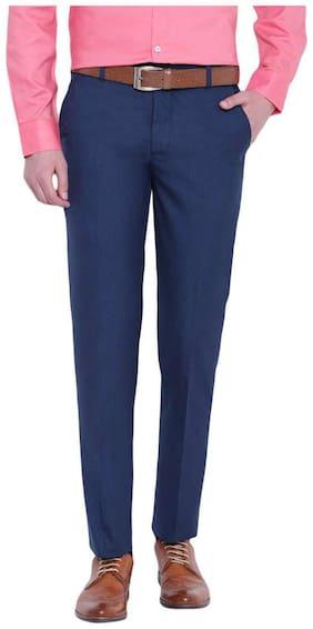 D52 Men's Blue Self Design Slim Fit Formal Trousers