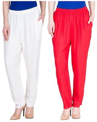 Dada Shopy Rayon Cotton Regular fit Pant Palazzo for Women combo 2