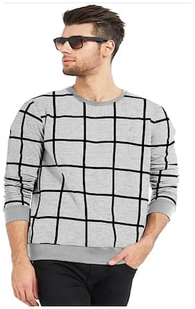 Dagcros Men Regular fit Round neck Checked T-Shirt - Grey