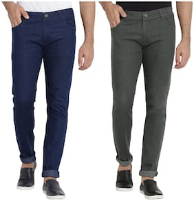 Dais Men Mid rise Skinny fit Jeans - Blue & Green