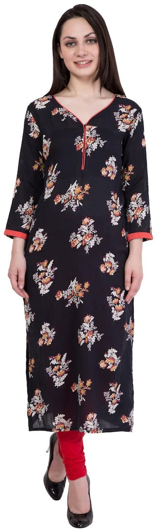 Damak Women Cotton Floral Straight Kurta - Black