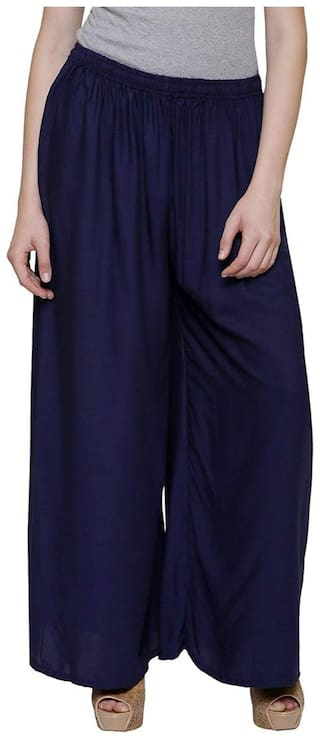 Buy Damen Mode Rayon Palazzos - Blue Online at Low Prices in