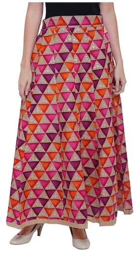 Damen Mode Printed Flared Skirt Maxi Skirt - Multi