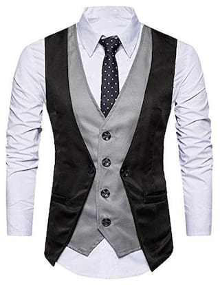 DARBAR IN Men Cotton blend Slim fit Waistcoat - Black