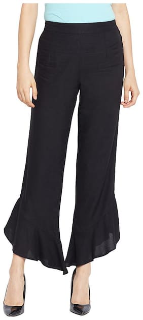 OXOLLOXO Women Regular fit Mid rise Solid Regular trousers - Black