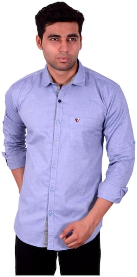 Dark Blue Cotton Casual Shirts