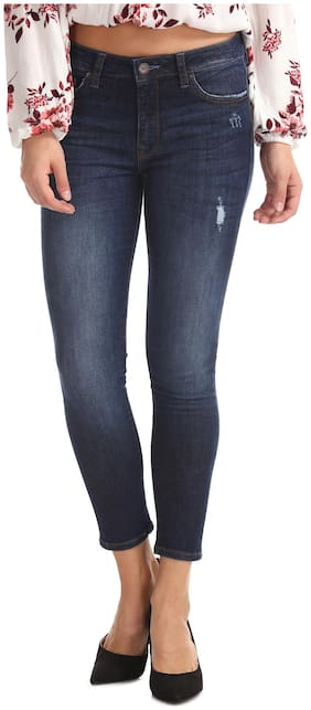 Aeropostale Women Regular Fit Mid Rise Washed Jeans - Blue