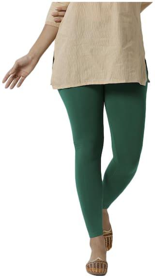 De Moza Womens Ankle Length Leggings Viscose Emerald Green