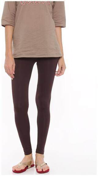 De Moza Womens Leggings Ankle Length Cotton Lycra Brown