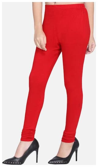 De-Ultimate (Set Of 1) Solid/Plain Soft And Premium (Red) Color Cotton Comfort & Stretchable Wear Churidar Leggings For Women's And Girl's (Size; Medium, Large, XL)