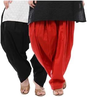 DEALBYMN Cotton Patiala - Black & Red